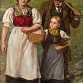 Kat-Nr: 0272  Franz von Defregger (Ederhof zu Stronach b. Dölsach/Tirol 1835 - 1921 München)  Junge Bäuerin mit Mädchen und Holzknecht Öl auf Leinwand 77 x 49 cm Ende 1890er Jahre