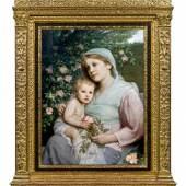 Kat-Nr: 0285 Gabriel von Max (Prag 1840 - 1915 München)  Rosenmadonna Öl auf Leinwand 87 x 65 cm Signiert links unten: GvMax