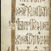 Das Skriptorium des Klosters St.Gallen ist besonders für seine kunstvollen Initialen berühmt. Remedius- Sakramentar mit den Gebeten des Priesters oder des Bischofs für die Messe. Die Handschrift befand sich im Besitz des Churer Bischofs Remedius († um 820). Remedius-Sakramentar, Pergament, eventuell Chur, um 800. © Leihgeber Stiftsbibliothek St.Gallen. Cod. Sang. 348.