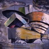 Martin Kippenberger: The Modern House of Believing or Not, 1985 (Öl auf Leinwand, 255 x 180 cm, Deutsches Architekturmuseum Frankfurt, als Dauerleihgabe im Museum für Moderne Kunst Frankfurt) © Deutsches Architekturmuseum