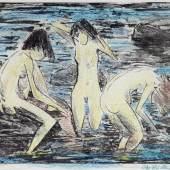 """02. Otto Mueller, """"Drei Badende (Drei Akte im Wasser)"""", 1928/30, Lithographie auf Papier, handkoloriert mit Farbstift, 42,5 x 53,5 cm (49,5 x 69 cm Blattgröße), signiert, Foto: Kohlhammer & Mahringer Fine Arts"""