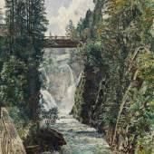 """Rudolf von Alt, """"Die Schreckbrücke in Badgastein"""", 1886, Aquarell auf Papier auf Karton, 47 x 34 cm, links unten signiert und datiert: R. Alt [1]886 Bild: Kunsthandel Giese & Schweiger"""