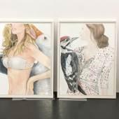 """Abbildung: Susanna Schwarz, aus der Serie """"Gut zu Vögeln"""", 2013  Aquarell auf Büttenpapier, 82 x 62 cm"""
