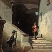 Carl Spitzweg: Serenissimus / Er kommt, um 1870, Öl auf Leinwand, 29,6 x 21,7 cm, Museum Georg Schäfer, Schweinfurt