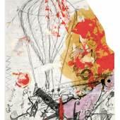 Stephen Cripps, ohne Titel, (Machine Carrying Hot Air Balloon), 1970 – 1976  Bleistift und Gouache auf liniertem Papier 25,1 x 20,2 cm © The family of Stephen Cripps/Leeds Museums and Galleries (Henry Moore Institute Archive)