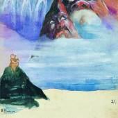 """Emil Nolde, """"Zugspitze und die beiden Waxensteine"""", Bergpostkarte Nr. 21"""