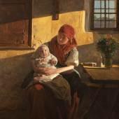"""02. Ferdinand Georg Waldmüller """"Sonntagsruhe"""", 1859, Öl auf Holz, 57,5 × 44,3 cm, signiert und datiert Bild: Lilly's Contemporary Art Exclusive Antiques"""
