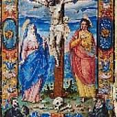 376: PERGAMENTBLÄTTER – ADELSBRIEF – Einzelblatt mit Kreuzigungsminiatur aus einer Urkunde auf Pergament. Spanien, um 1580.