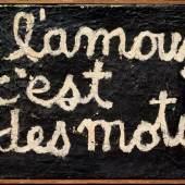 Ben Vautier, L'amour c'est des mots, 1958  Öl auf Leinwand / huile sur toile 22 x 27 cm Sammlung Ben Vautier Nizza
