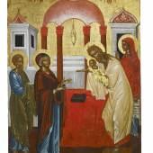 """""""Darstellung Christi im Tempel"""", Italo-kretisch, 2. Hälfte 16. Jahrhundert, 33 x 24 cm, Foto: Brenske Gallery – Dr. Stefan Brenske"""