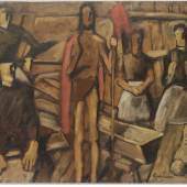 "Albin Egger-Lienz, Erster Entwurf zu ""Christi Auferstehung"", 1923, Öl auf Pappe, 71,5 x 101 cm, halbrechts unten signiert: Egger Lienz Foto: Galerie Magnet"