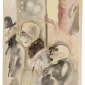 """George Grosz """"Nachts"""", 1926, Aquarell und Feder auf dickem, genarbtem Aquarellkarton, 60,3 x 47,8 cm, rechts unten innerhalb der Darstellung mit Bleistift signiert: """"Grosz"""", links unten nummeriert: """"Nr. 33"""", sowie betitelt: """"Nachts"""" Foto: W&K - Wienerroither & Kohlbacher / © Bildrecht Wien, 2020"""