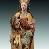 03. Hl. Agnes, Donauschule, um 1500, Lindenholz, originale Fassung, H: 51 cm, Foto: Runge Kunsthandel