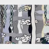 """Roy Lichtenstein, """"Water lilies with willows"""", 1992, Siebdrucklack auf Edelstahl, 147,3 x 264,6 cm, rückseitig signiert, datiert, bezeichnet Foto: Schütz Fine Art/© Estate of Roy Lichtenstein/VG Bild-Kunst, 2019"""