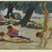 Ludwig von Hofmann: Knaben am Strand, um 1895. Pastell, 24,9 x 34,4 cm. © bpk / Staatliche Musee Kupferstichkabinett / Jörg P. Anders