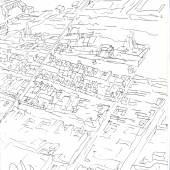 Álvaro Siza Vieira (*1933) Vogelperspektive auf Évora, Quinta da Malagueira, Évora, Portugal Heft 1, 1977 Tinte auf Papier 300 x 210 mm Courtesy Drawing Ma