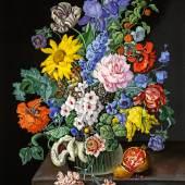 "Sebastian Wegmayr (Wien 1776 – 1857 Wien)  ""Großes Blumenstück"", Öl auf Leinwand, signiert und datiert 1857  95 x 78 cm  Galerie Szaal"
