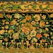 Bordüre des sogenannten Türkenteppichs. Dieser stammt gemäss Tradition aus dem Zelt von Kara Mustafa Pascha, dem Belagerer von Wien, und soll durch Kaiser Leopold nach Einsiedeln geschenkt worden sein.