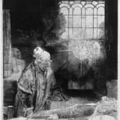 Rembrandt, Faust, ca 1652, Radierung, Kaltnadel, Grabstichel Foto: Alte Galerie, Universalmuseum Joanneum, Graz