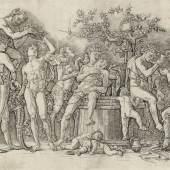 Andrea Mantegna (1431-1506), Bacchanal mit Weinpresse [Detail], 1470-1490, Kupferstich, Hamburger Kunsthalle