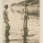 Anders Zorn: Seichtes Wasser, 1913. Radierung, 29,9 x 19,8 cm. © bpk / Staatliche Museen zu Berlin Volker-H. Schneider