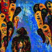 """04. Gunter Damisch, """"Polköpflersteher"""", Öl auf Leinwand, 110 x 80 cm, signiert, verso bezeichnet und datiert, Foto: Runge Kunsthandel"""