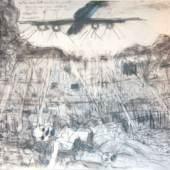 """Nr. 4: Robert Hammerstiel: """"Die Atombombenabwürfe auf Hiroshima und Nagasaki, August 1945"""" <br />   aus dem Zyklus: """"Die sieben Todsünden des 20. Jahrhunderts""""  <br />   Zeichnung (Bleistift und Kreide) und Holzschnitt (Porträtköpfe); 70 x 100 cm; 2010 <br />   Leihgabe: Robert Hammerstiel Robert Hammerstiel; Foto: Manfred Koch"""