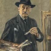Max Liebermann: Selbstbildnis im Anzug mit Hut, stehend mit Palette, 1927, Öl auf Leinwand, Museum Georg Schäfer, Schweinfurt © Museum Georg Schäfer, Schweinfurt