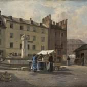 Albert Splitgerber, Anicht vom Viktualienmarkt mit Ficherturm, um 1870.  Foto: Inslegalerie Gailer