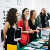 Tauba Auerbach's Diagonal Press at NYABF14. Photo courtesy BJ Enright Photography.