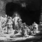 Rembrandt, Christus heilt die Kranken, Hundertguldenblatt, 1649, Radierung, Kaltnadel, Grabstichel Foto: Alte Galerie, Universalmuseum Joanneum, Graz