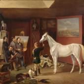 """Albrecht Adam, Gemälde """"Im Atelier des Malers Albrecht Adam"""" gekauft bei der Kunsthandlung Hugo Helbing Öl auf Leinwand, 1854 © Münchner Stadtmuseum"""