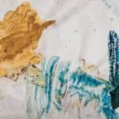 """Max Weiler, """"Landschaft mit Pappel"""", 1988, Eitempera auf Waldviertler Papier, 61,5 x 103 cm, signiert und datiert Bild: Kunsthandel Freller"""