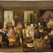 Johann Baptist Pflug: Taufvisite im evangelischen Pfarrhaus, 1828, Öl auf Blech, 23 x 30 cm, Inv.-Nr. GVL 10, Staatsgalerie Stuttgart, Foto © Staatsgalerie Stuttgart