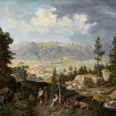 """Georg Anton Köck (Innichen 1826-1895 Wien) """"Blick auf Innsbruck vom Bergisel"""", 1869, Öl auf Leinwand, 95,5 x 123,5 cm, signiert und datiert Foto: Runge Kunsthandel"""