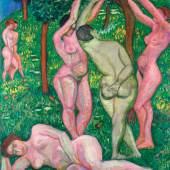 """Vilmos Perlrott-Csaba """"NudesOutdoors (Eden)"""", 1907-1909, Öl auf Leinwand, 114 x 92 cm, signiert Mitte rechts: GuillomePerlrott Csaba Foto: Ernst Gallery"""