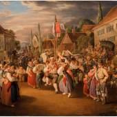 Johann Baptist Pflug: Erntefest mit Hahnentanz, 1839, Öl auf Leinwand, 44 x 57 cm, Inv.-Nr. 996, Staatsgalerie Stuttgart, Foto © Staatsgalerie Stuttgart