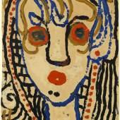 """06_Louis Soutter, """"Tête de femme de face"""", verso: """"La Cruche saigne"""", 1930-42, Öl auf Papier, 34 x 25,4 cm, rückseitig betitelt: La / Cruche/saigne  Foto: Galerie Bierhinkel"""