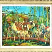 """1697Französischer Expressionist, 1.H. 20. Jh. Öl/Lwd, 46,5 x 55,5 cm, """" Häuser am Hang mit Garten """"  2000,00*"""