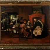 """1704Gebhardt, Eduard Karl Franz von, 1838 St. Johannis - 1925 Düsseldorf Öl/Holz, parkettiert, 79 x 100,5 cm, """" Jesus und der Zöllner """", u.l. sign., dat. 1891, rücks. altes Rahmenfabrikant-Etikett, Lit.: Thieme-Becker, Bötticher, Benezit, Bruckmann D, Busse, Saur"""