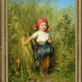 """1737Hirt, Heinrich, 1841 Fürth - 1902 München Öl/Lwd, 37 x 29 cm, """" Bauernmädchen mit Kopftuch im Getreidefeld """", u.l. sign., Ortsbez. """"München"""", Lit.: Thieme-Becker, Bötticher, Benezit, Bruckmann M, Busse, Saur  2000,00*"""