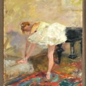 """1888Pippel, Otto, 1878 Lodz - 1960 München Öl/Lwd, 61 x 51 cm, rücks. betit. """" Vor der Probe """", u.r. sign., Lit.: Thieme-Becker, Benezit, Vollmer, Dressler, Bruckmann M, Busse, Saur"""