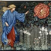 Edward Coley Burne-Jones (1833–1898), Wirkteppich The Pilgrim in the Garden (Der Pilger im Garten), Ausführung Merton Abbey, London, 1901. Wolle, Seide, Baumwollgarn.  Badisches Landesmuseum Karlsruhe