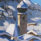 """Alfons Walde, """"Auracher Kirchl"""", um 1930, Öl auf Malkarton, 32,8 x 25,6 cm, signiert links unten: a. walde Bild: Galerie Kovacek & Zetter/© Bildrecht Wien, 2018"""