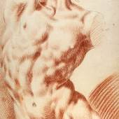 """Josef Bergler d. Jüngere  """"Männlicher Torso"""", Rötel, schwarze Kreide, 48,8 x 27 cm, monogrammiert und datiert: J.B. den 22. November 1773  Foto: Kunsthandel Dr. Keil"""