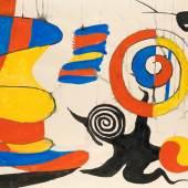 """Alexander Calder, """"The Yellow Shock Absorber"""", 1969, Gouache und Aquarell auf Wove-Papier,  75,5 x 109,5 cm, rechts unten signiert und datiert: """"Calder 69"""" Foto: Kunsthaus Wiesinger"""
