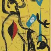 """Joan Miró """"L'Essayage II"""", 1969, Lithographie auf Papier, 119,7 x 80,3 cm, signiert, nummeriert Foto: Kolhammer & Mahringer/© Succession Miró/Bildrecht Wien, 2019"""