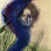 Galerie Ruberl: 07_Arnulf Rainer, Übermalung einer Klimt Zeichnung (Strobl WVZ 273), Öl auf Laserkopie, 42 x 29,7 cm, entstanden 1981 Foto: Galerie Ruberl