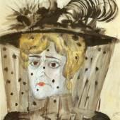 Otto Dix, Die Witwe, 1922; 49,5 x 45 cm, Aquarell auf Kupferdruckpapier/ Bleistiftvorzeichnung  © Zeppelin Museum Friedrichshafen © Bildrecht Wien, 2019