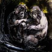Anja Güthoff, Zu zweit (Serie 4/4), 2012, Federzeichnung, 29 x 21 cm, © A. Güthoff